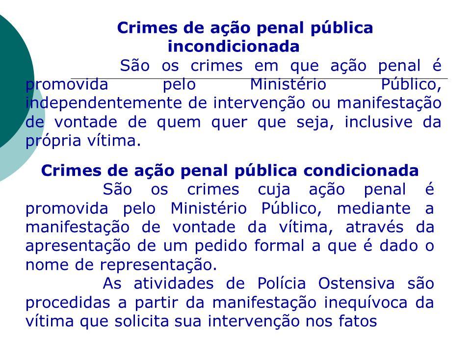 Crimes de ação penal pública incondicionada São os crimes em que ação penal é promovida pelo Ministério Público, independentemente de intervenção ou m