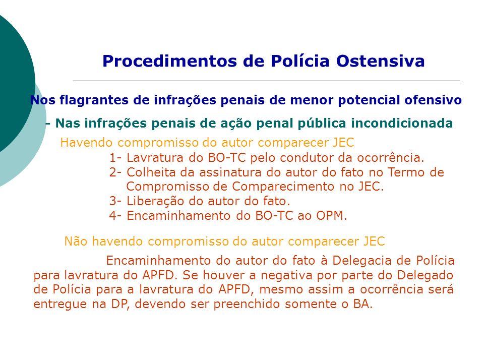 Procedimentos de Polícia Ostensiva - Nas infrações penais de ação penal pública incondicionada Havendo compromisso do autor comparecer JEC 1- Lavratur