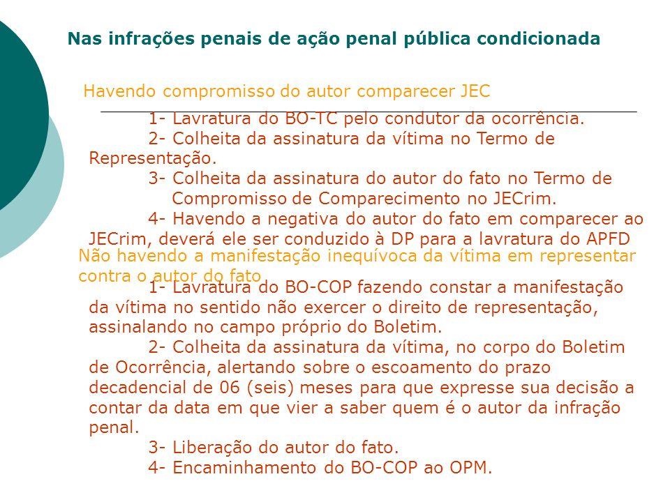 Nas infrações penais de ação penal pública condicionada Havendo compromisso do autor comparecer JEC 1- Lavratura do BO-TC pelo condutor da ocorrência.