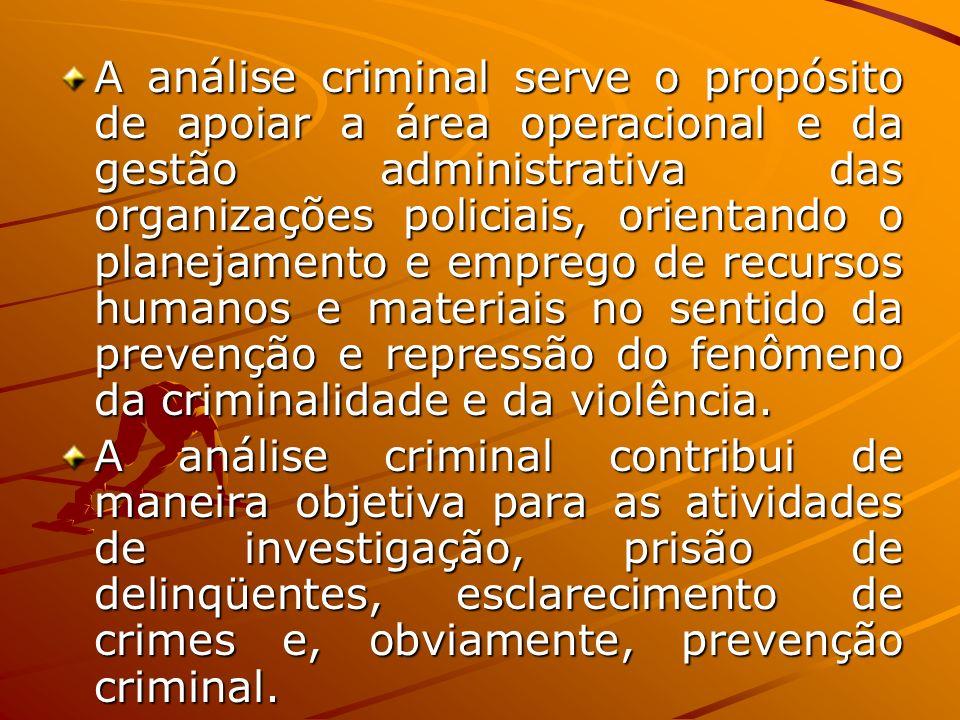 A análise criminal serve o propósito de apoiar a área operacional e da gestão administrativa das organizações policiais, orientando o planejamento e e