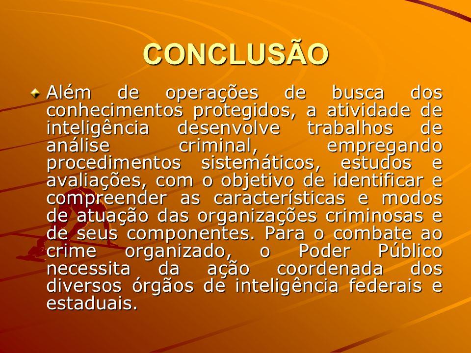CONCLUSÃO Além de operações de busca dos conhecimentos protegidos, a atividade de inteligência desenvolve trabalhos de análise criminal, empregando pr
