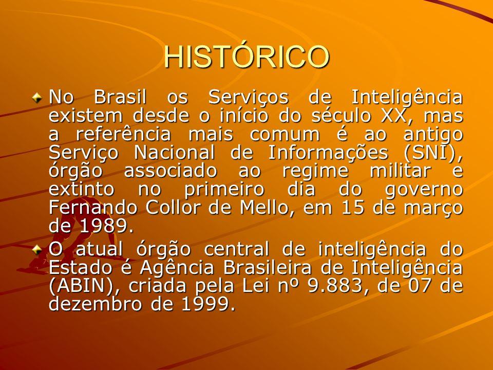 HISTÓRICO No Brasil os Serviços de Inteligência existem desde o início do século XX, mas a referência mais comum é ao antigo Serviço Nacional de Infor