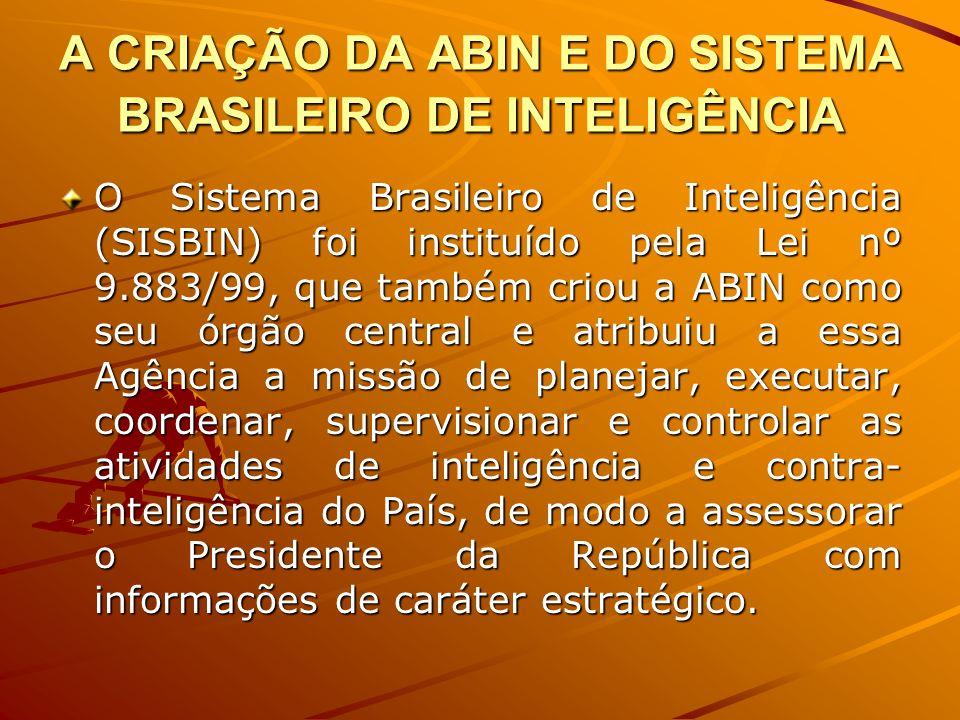 A CRIAÇÃO DA ABIN E DO SISTEMA BRASILEIRO DE INTELIGÊNCIA O Sistema Brasileiro de Inteligência (SISBIN) foi instituído pela Lei nº 9.883/99, que també