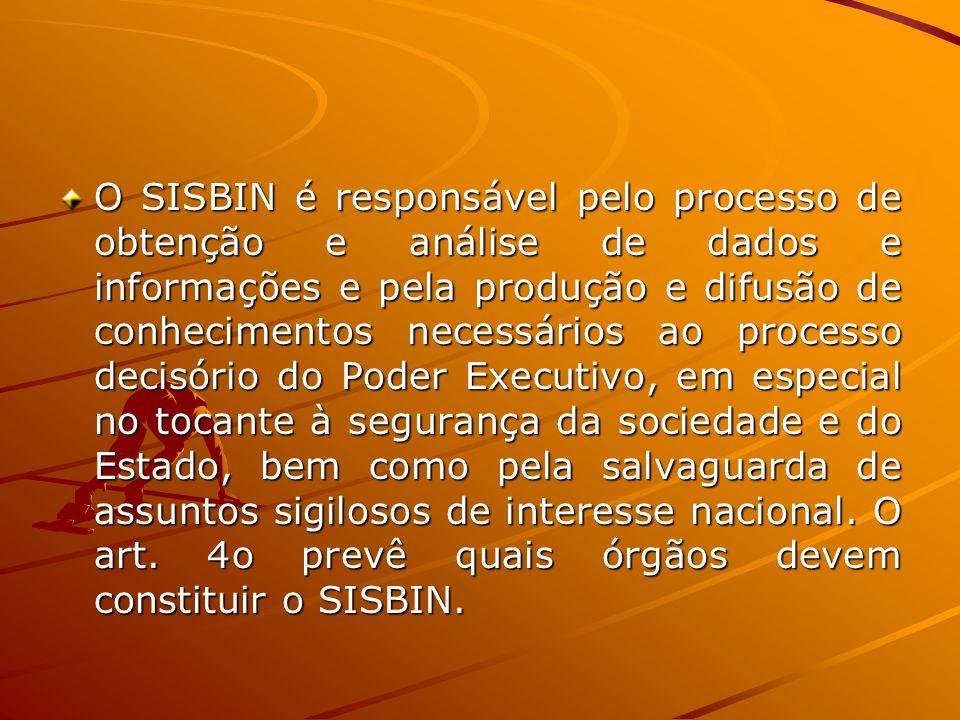 O SISBIN é responsável pelo processo de obtenção e análise de dados e informações e pela produção e difusão de conhecimentos necessários ao processo d