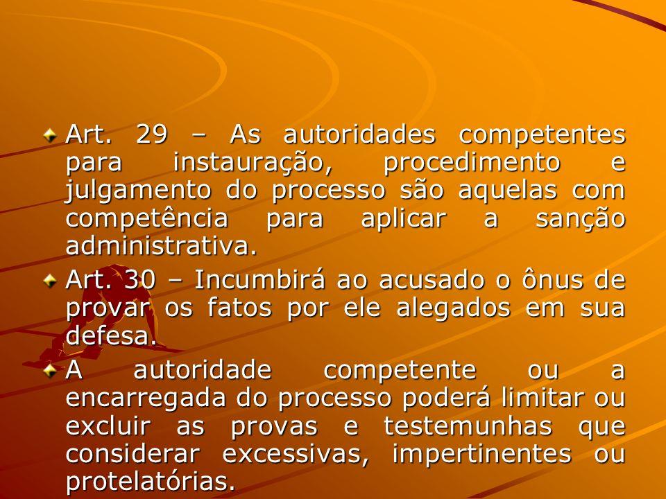 Art. 29 – As autoridades competentes para instauração, procedimento e julgamento do processo são aquelas com competência para aplicar a sanção adminis