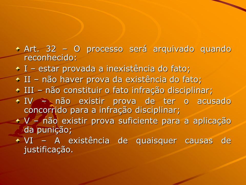 Art. 32 – O processo será arquivado quando reconhecido: I – estar provada a inexistência do fato; II – não haver prova da existência do fato; III – nã