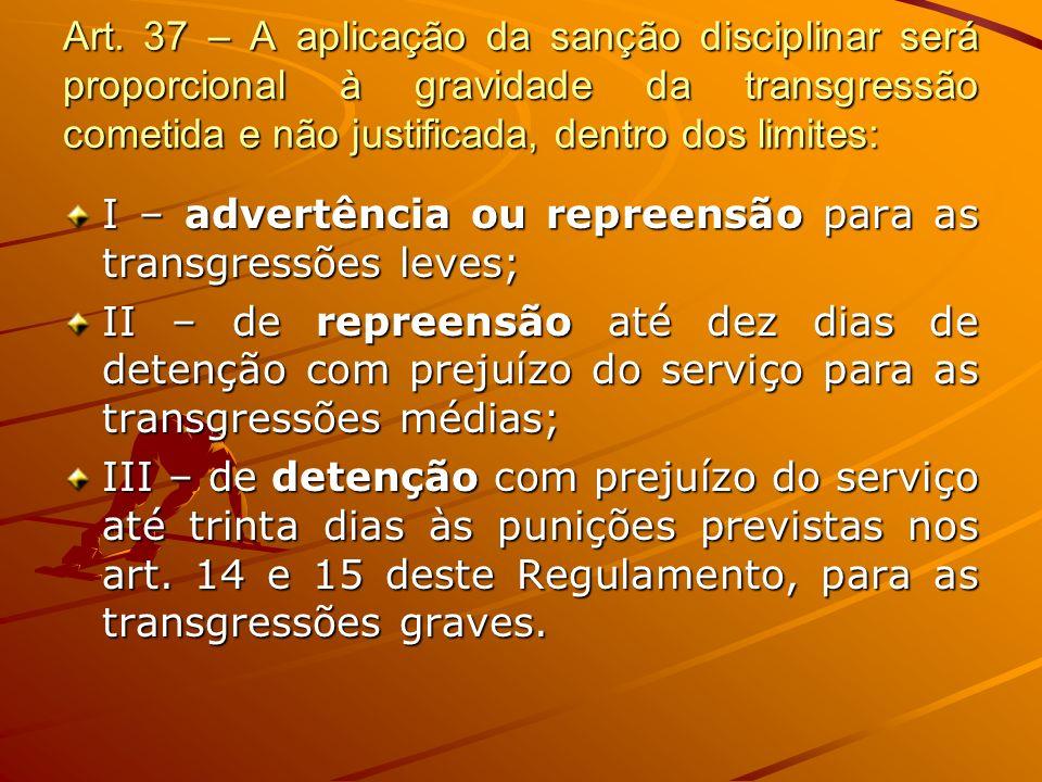 Art. 37 – A aplicação da sanção disciplinar será proporcional à gravidade da transgressão cometida e não justificada, dentro dos limites: I – advertên