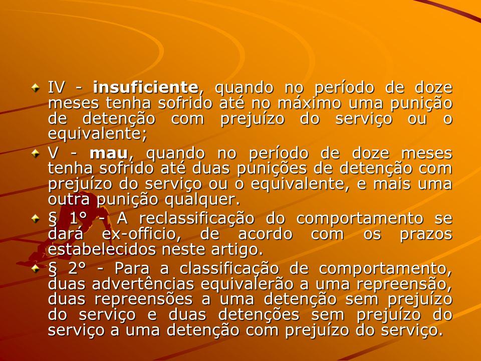IV - insuficiente, quando no período de doze meses tenha sofrido até no máximo uma punição de detenção com prejuízo do serviço ou o equivalente; V - m