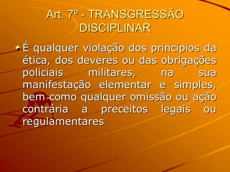 Art. 7º - TRANSGRESSÃO DISCIPLINAR É qualquer violação dos princípios da ética, dos deveres ou das obrigações policiais militares, na sua manifestação