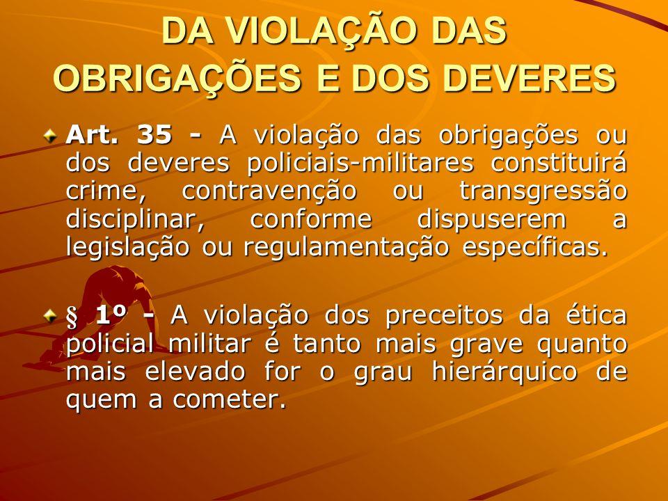 DA VIOLAÇÃO DAS OBRIGAÇÕES E DOS DEVERES Art. 35 - A violação das obrigações ou dos deveres policiais-militares constituirá crime, contravenção ou tra