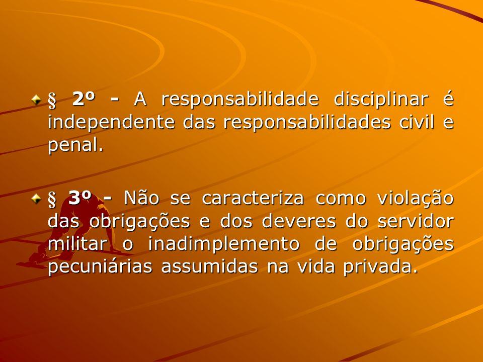 § 2º - A responsabilidade disciplinar é independente das responsabilidades civil e penal. § 3º - Não se caracteriza como violação das obrigações e dos