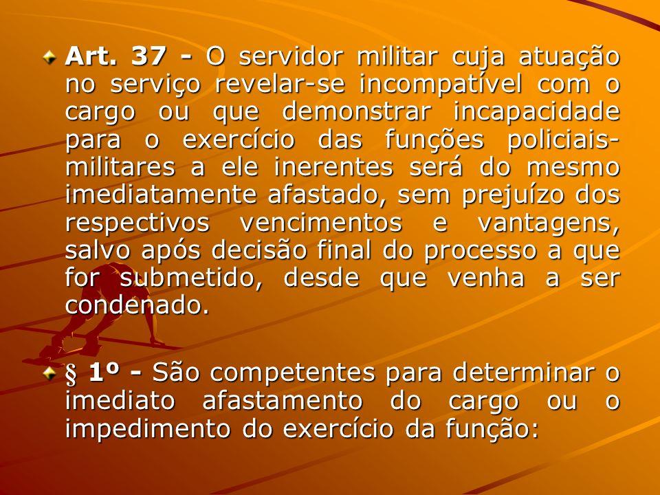Art. 37 - O servidor militar cuja atuação no serviço revelar-se incompatível com o cargo ou que demonstrar incapacidade para o exercício das funções p