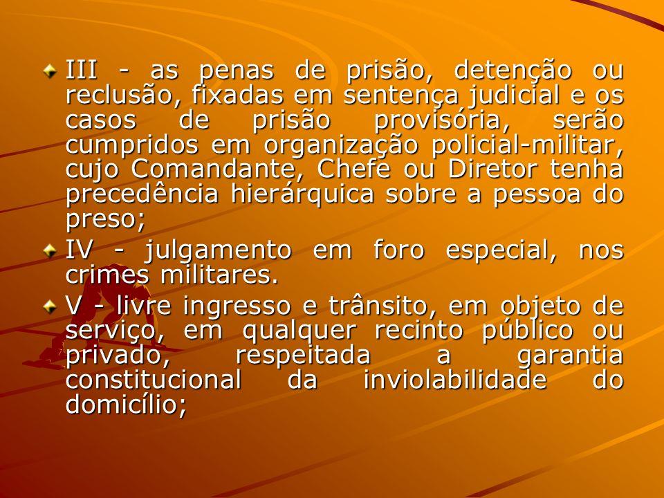 III - as penas de prisão, detenção ou reclusão, fixadas em sentença judicial e os casos de prisão provisória, serão cumpridos em organização policial-