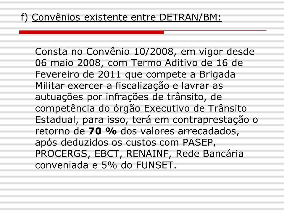 f) Convênios existente entre DETRAN/BM: Consta no Convênio 10/2008, em vigor desde 06 maio 2008, com Termo Aditivo de 16 de Fevereiro de 2011 que compete a Brigada Militar exercer a fiscalização e lavrar as autuações por infrações de trânsito, de competência do órgão Executivo de Trânsito Estadual, para isso, terá em contraprestação o retorno de 70 % dos valores arrecadados, após deduzidos os custos com PASEP, PROCERGS, EBCT, RENAINF, Rede Bancária conveniada e 5% do FUNSET.