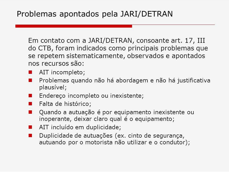 Problemas apontados pela JARI/DETRAN Em contato com a JARI/DETRAN, consoante art. 17, III do CTB, foram indicados como principais problemas que se rep