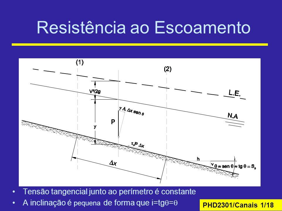 PHD2301/Canais 1/18 Resistência ao Escoamento Tensão tangencial junto ao perímetro é constante A inclinação é pequena de forma que i=tg =