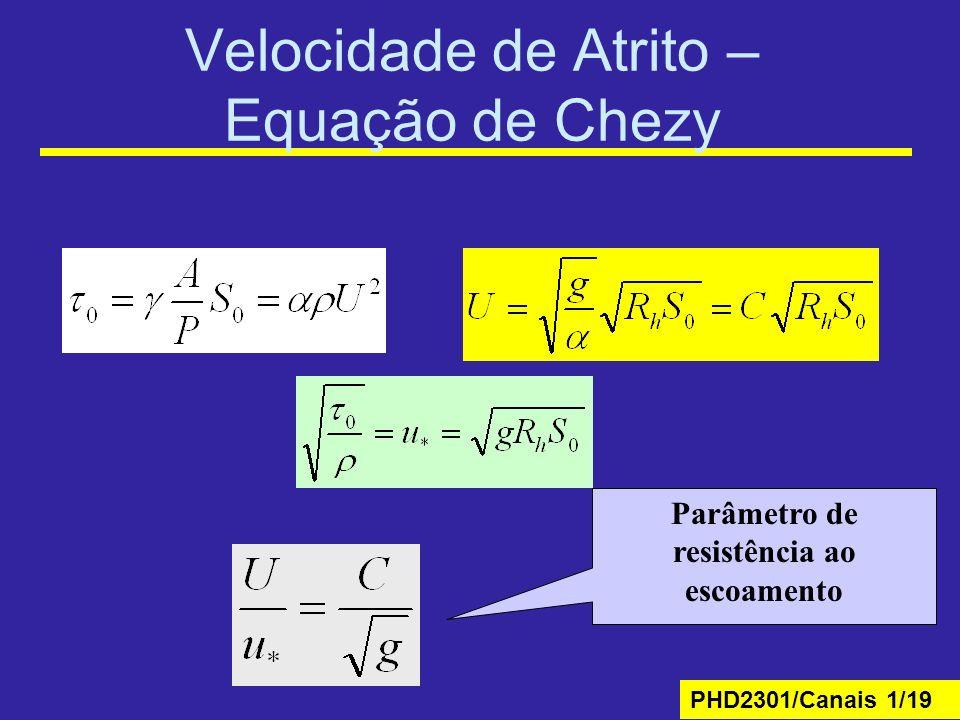 PHD2301/Canais 1/19 Velocidade de Atrito – Equação de Chezy Parâmetro de resistência ao escoamento
