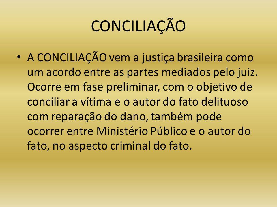 CONCILIAÇÃO A CONCILIAÇÃO vem a justiça brasileira como um acordo entre as partes mediados pelo juiz. Ocorre em fase preliminar, com o objetivo de con