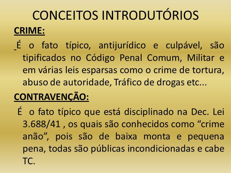 CONCEITOS INTRODUTÓRIOS CRIME: É o fato típico, antijurídico e culpável, são tipificados no Código Penal Comum, Militar e em várias leis esparsas como