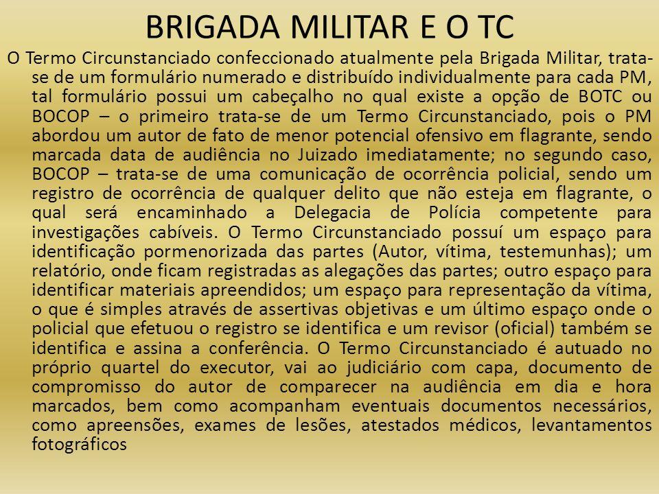 BRIGADA MILITAR E O TC O Termo Circunstanciado confeccionado atualmente pela Brigada Militar, trata- se de um formulário numerado e distribuído indivi