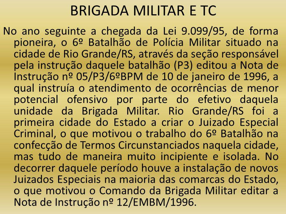 BRIGADA MILITAR E TC No ano seguinte a chegada da Lei 9.099/95, de forma pioneira, o 6º Batalhão de Polícia Militar situado na cidade de Rio Grande/RS