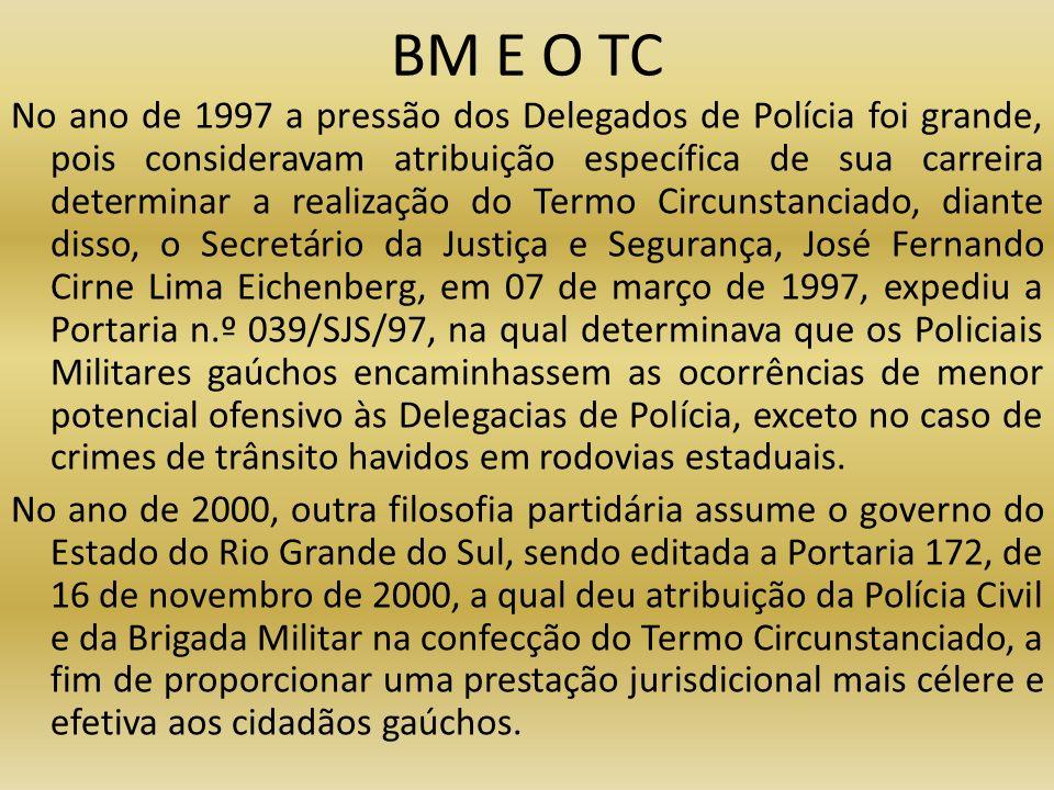 BM E O TC No ano de 1997 a pressão dos Delegados de Polícia foi grande, pois consideravam atribuição específica de sua carreira determinar a realizaçã