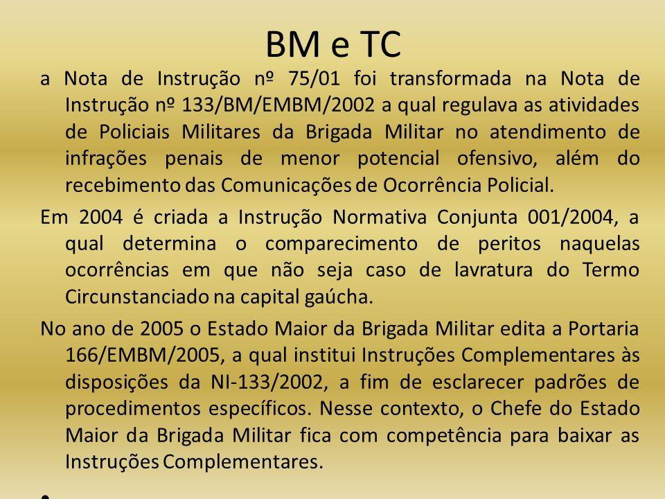 BM e TC a Nota de Instrução nº 75/01 foi transformada na Nota de Instrução nº 133/BM/EMBM/2002 a qual regulava as atividades de Policiais Militares da