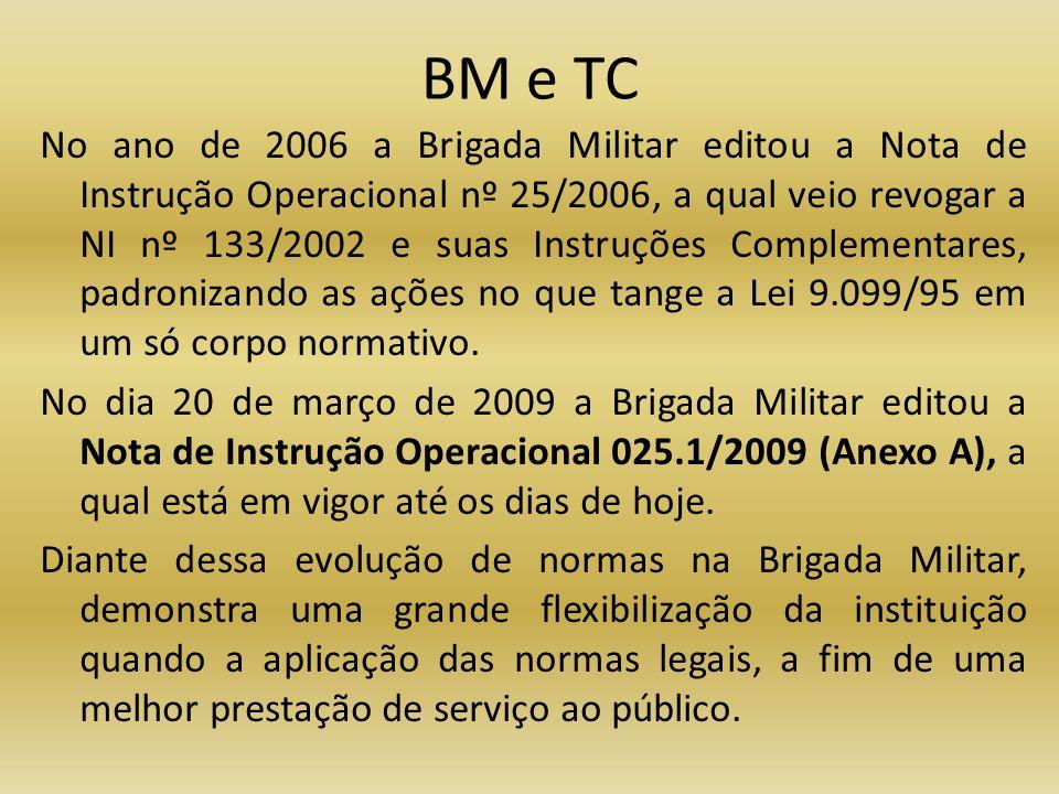 BM e TC No ano de 2006 a Brigada Militar editou a Nota de Instrução Operacional nº 25/2006, a qual veio revogar a NI nº 133/2002 e suas Instruções Com