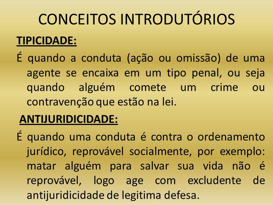 CONCEITOS INTRODUTÓRIOS TIPICIDADE: É quando a conduta (ação ou omissão) de uma agente se encaixa em um tipo penal, ou seja quando alguém comete um cr