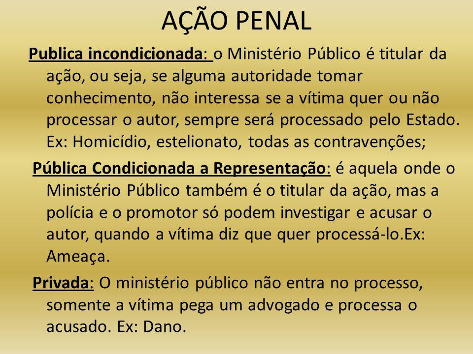 AÇÃO PENAL Publica incondicionada: o Ministério Público é titular da ação, ou seja, se alguma autoridade tomar conhecimento, não interessa se a vítima