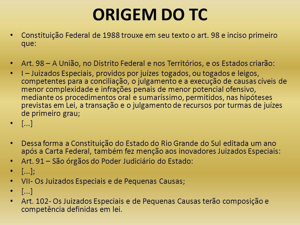 ORIGEM DO TC Constituição Federal de 1988 trouxe em seu texto o art. 98 e inciso primeiro que: Art. 98 – A União, no Distrito Federal e nos Território