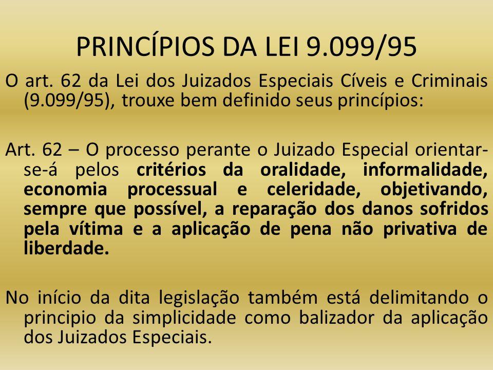 PRINCÍPIOS DA LEI 9.099/95 O art. 62 da Lei dos Juizados Especiais Cíveis e Criminais (9.099/95), trouxe bem definido seus princípios: Art. 62 – O pro