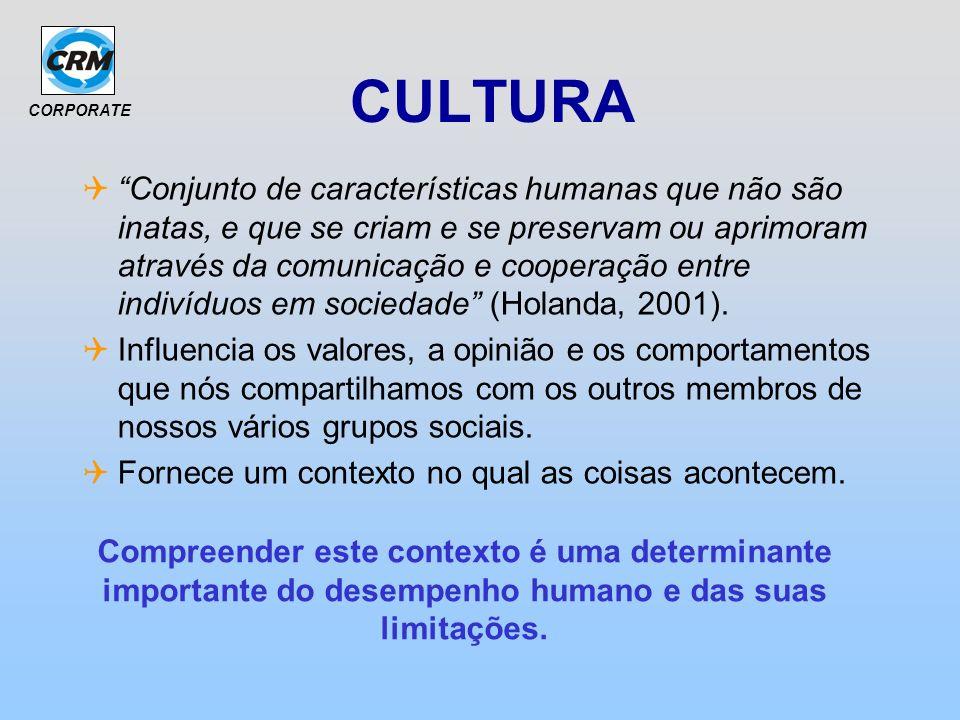 CORPORATE CULTURA Conjunto de características humanas que não são inatas, e que se criam e se preservam ou aprimoram através da comunicação e cooperaç
