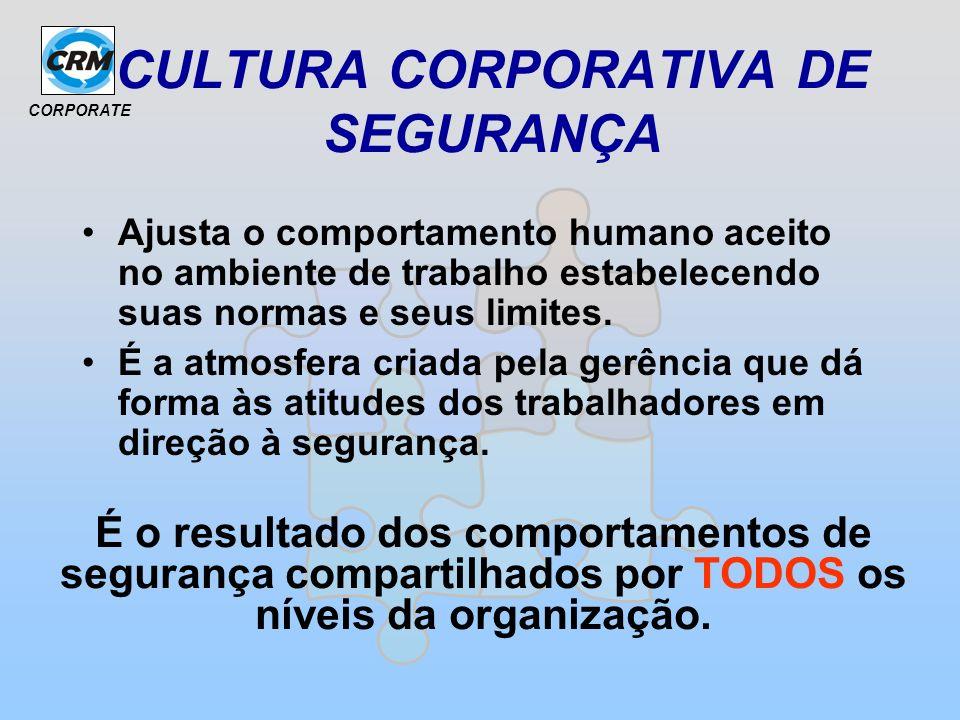 CORPORATE CULTURA CORPORATIVA DE SEGURANÇA Ajusta o comportamento humano aceito no ambiente de trabalho estabelecendo suas normas e seus limites. É a