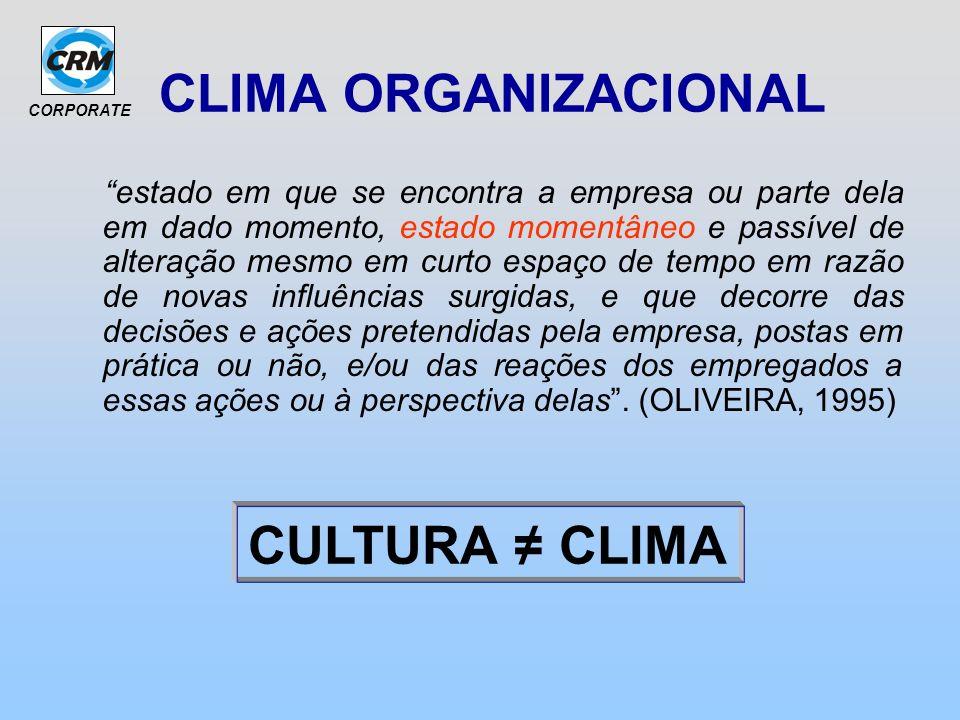 CORPORATE CLIMA ORGANIZACIONAL estado em que se encontra a empresa ou parte dela em dado momento, estado momentâneo e passível de alteração mesmo em c