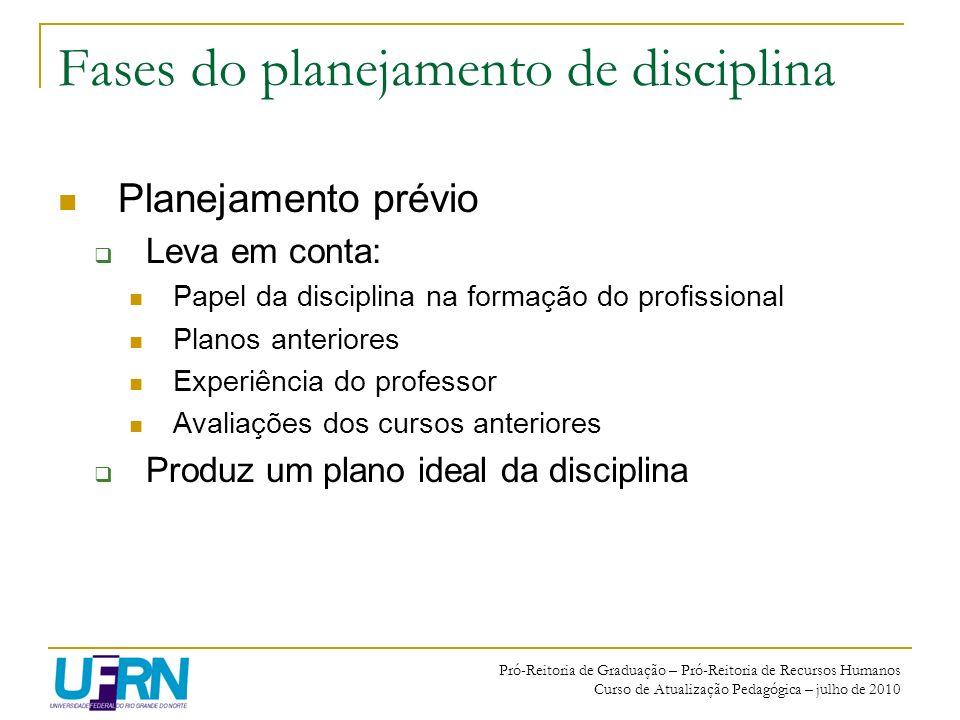Pró-Reitoria de Graduação – Pró-Reitoria de Recursos Humanos Curso de Atualização Pedagógica – julho de 2010 Fases do planejamento de disciplina Plane