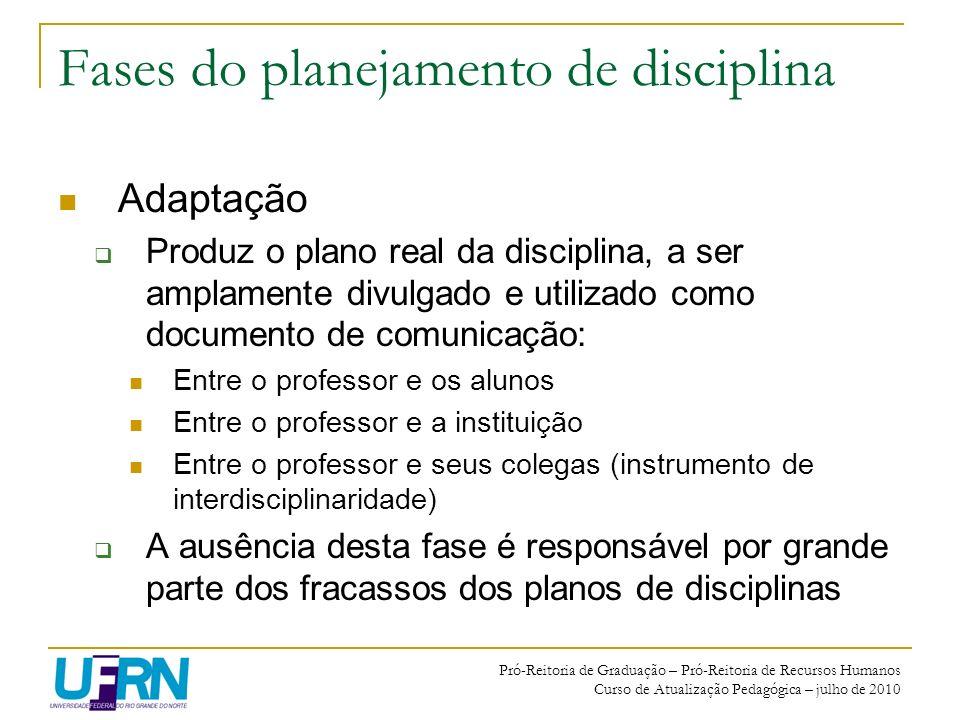 Pró-Reitoria de Graduação – Pró-Reitoria de Recursos Humanos Curso de Atualização Pedagógica – julho de 2010 Fases do planejamento de disciplina Adapt
