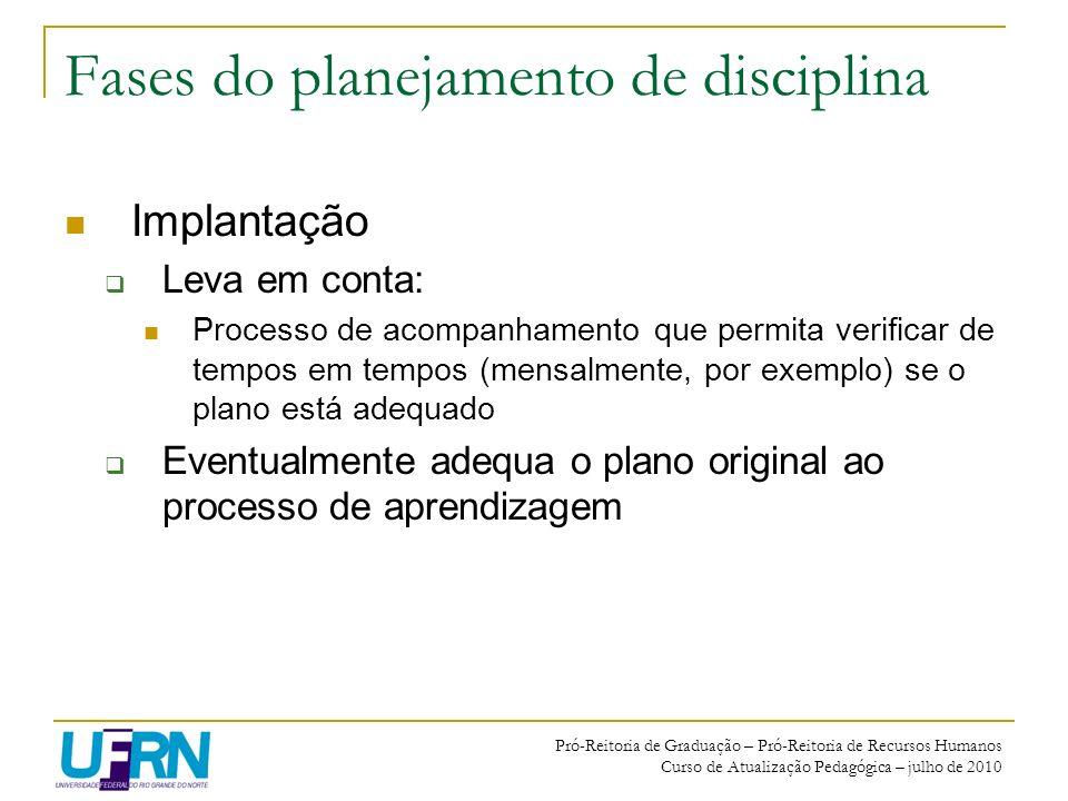 Pró-Reitoria de Graduação – Pró-Reitoria de Recursos Humanos Curso de Atualização Pedagógica – julho de 2010 Fases do planejamento de disciplina Impla
