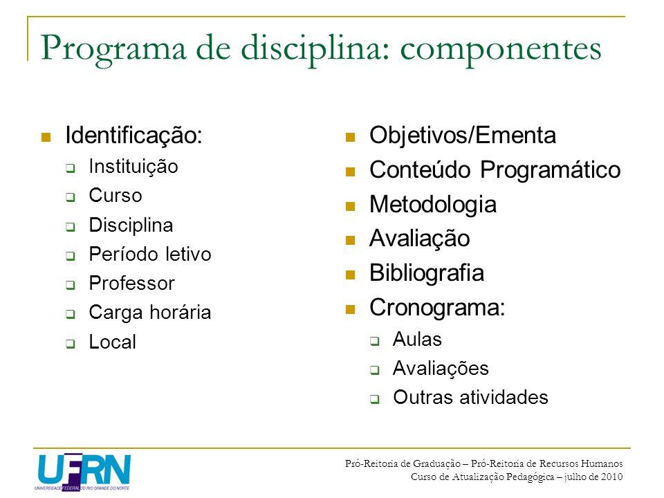 Pró-Reitoria de Graduação – Pró-Reitoria de Recursos Humanos Curso de Atualização Pedagógica – julho de 2010 Programa de disciplina: componentes Ident