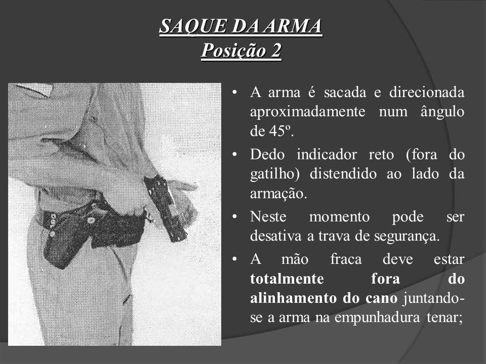 SAQUE DA ARMA Posição 1 A mão forte faz a pega da coronha, ao mesmo tempo que libera o sistema de fixação da arma no coldre (geralmente pelo dedo pole