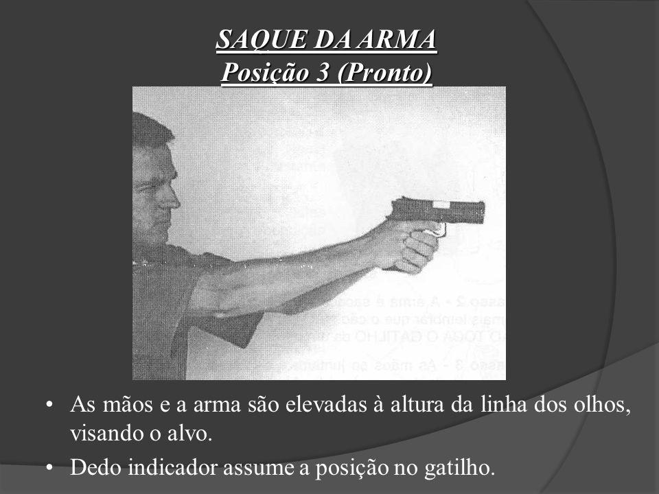 SAQUE DA ARMA Posição 2 A arma é sacada e direcionada aproximadamente num ângulo de 45º. Dedo indicador reto (fora do gatilho) distendido ao lado da a