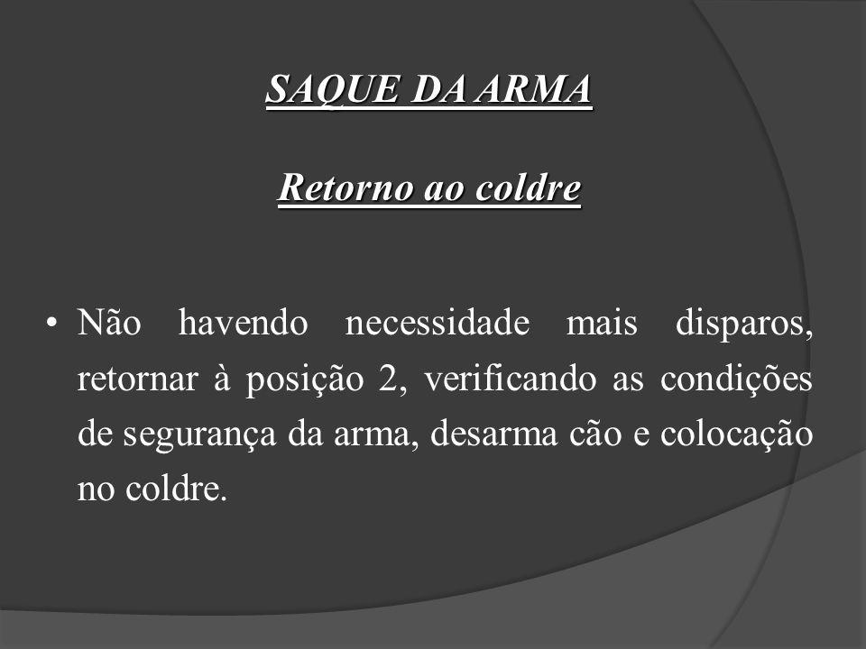 SAQUE DA ARMA Posição 4 (Disparo) Pressionar gradualmente o gatilho, sem perder a atenção do aparelho de pontaria com o alvo. Após o tiro pode executa