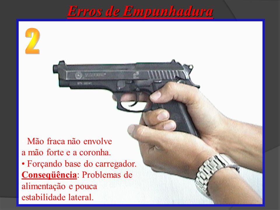 Erros de Empunhadura Dedo polegar interferindo no funcionamento da arma. (Retém do ferrolho e/ou trava) Conseqüência: Interfere no funcionamento da ar