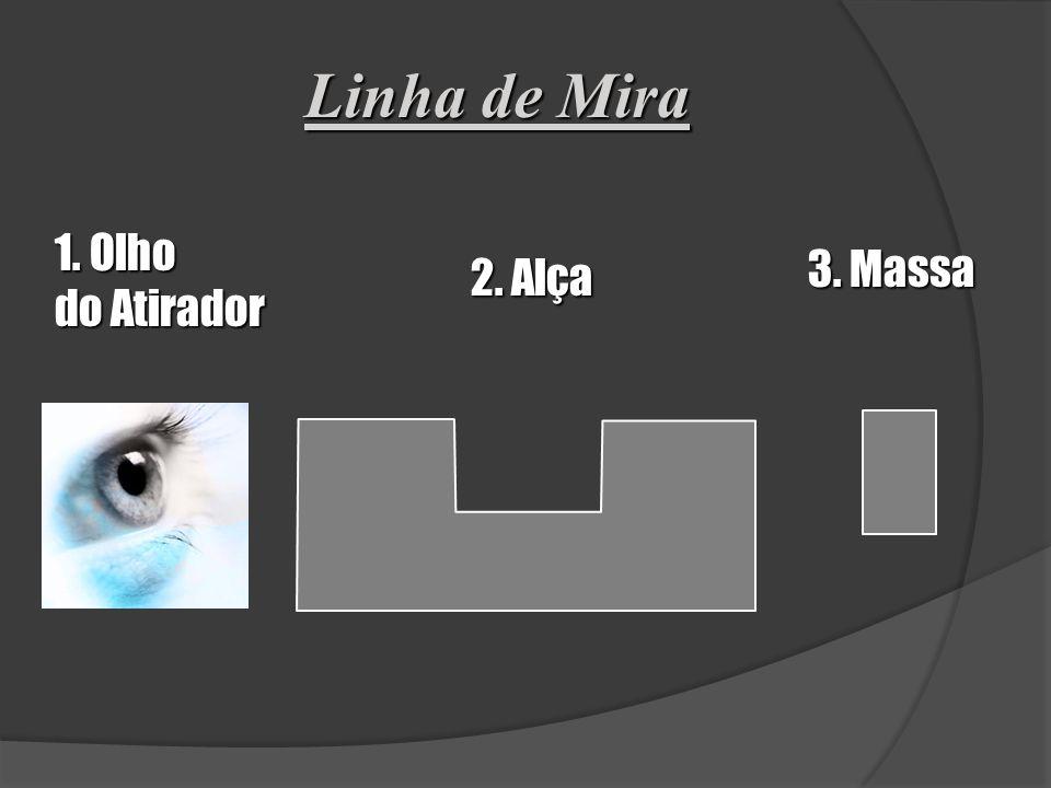 3º FUNDAMENTO VISADA Alinhamento do Olho do Atirador - Alça - Massa - Alvo Observações: Para o olho humano é impossível focar ao mesmo tempo distância
