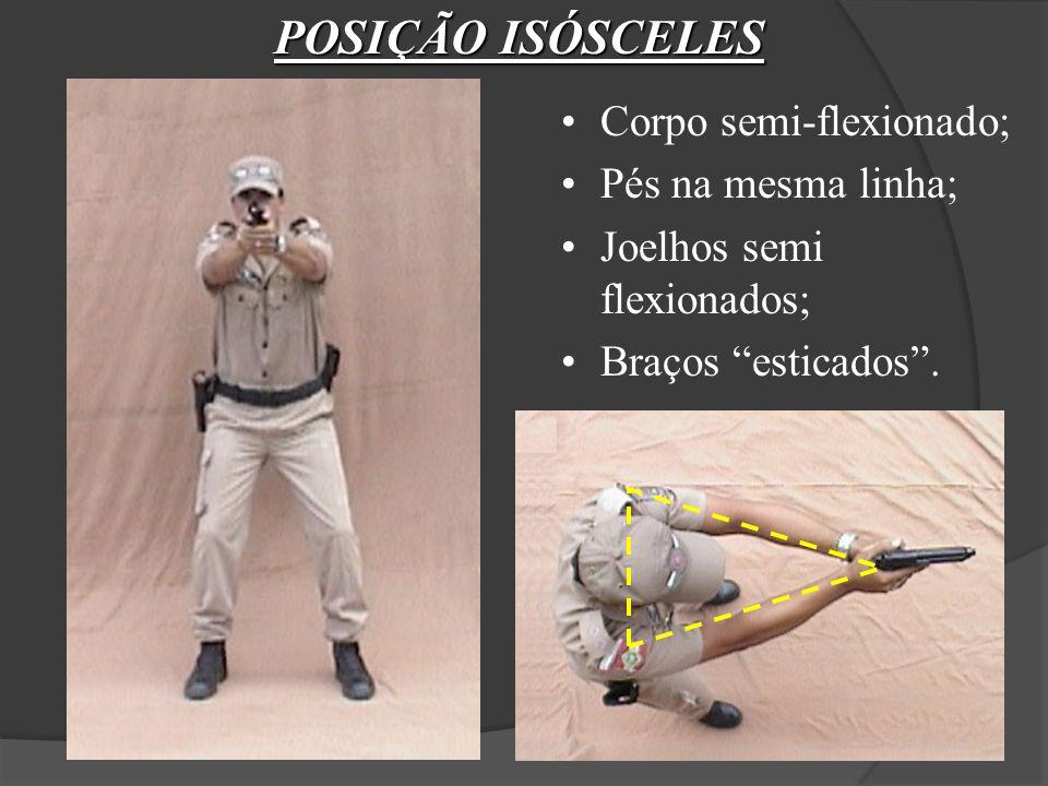 Corpo semi-flexionado; Pés na mesma linha; Joelhos semi flexionados; Braços esticados.