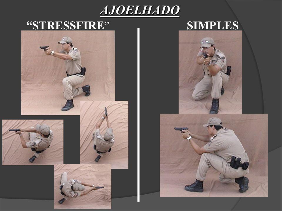 SAQUE DA ARMA Retorno ao coldre Não havendo necessidade mais disparos, retornar à posição 2, verificando as condições de segurança da arma, desarma cão e colocação no coldre.