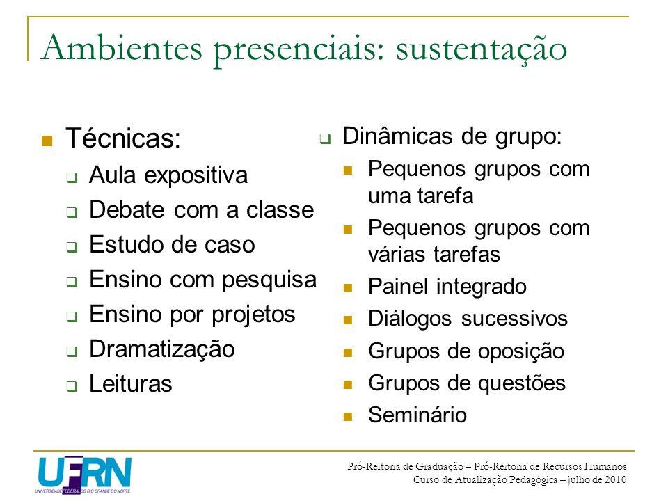 Pró-Reitoria de Graduação – Pró-Reitoria de Recursos Humanos Curso de Atualização Pedagógica – julho de 2010 Ambientes presenciais: sustentação Técnic