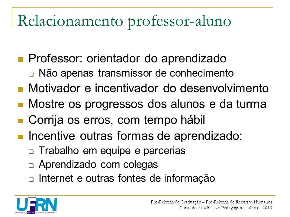 Pró-Reitoria de Graduação – Pró-Reitoria de Recursos Humanos Curso de Atualização Pedagógica – julho de 2010 Relacionamento professor-aluno Professor: