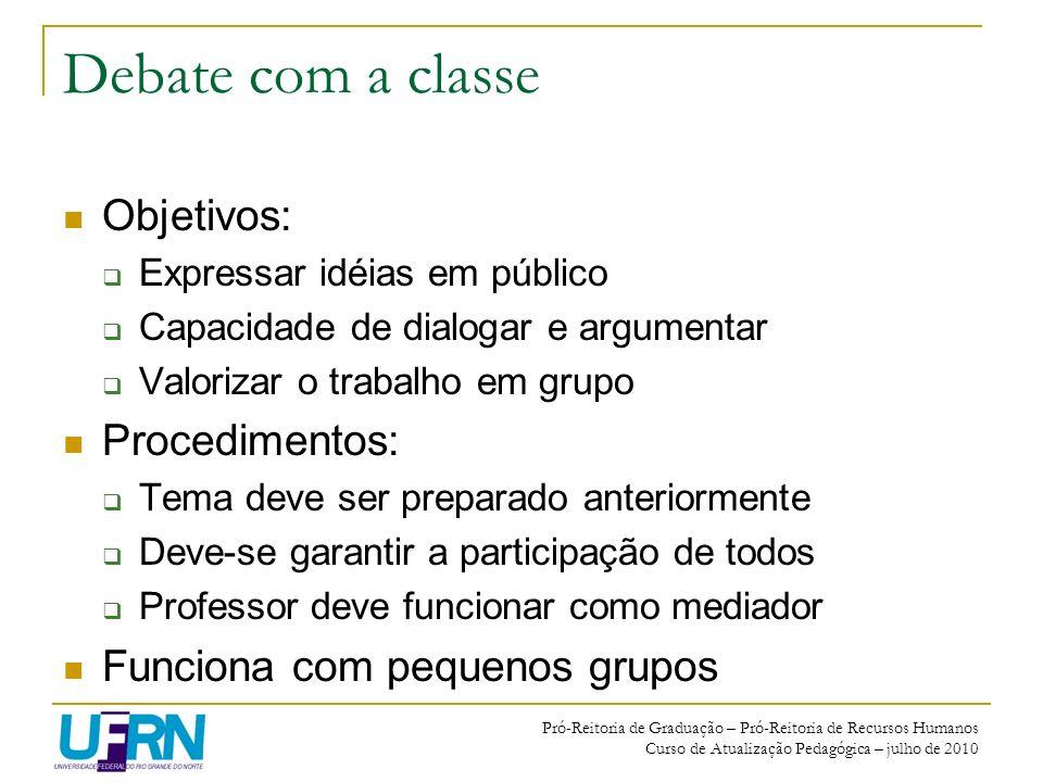 Pró-Reitoria de Graduação – Pró-Reitoria de Recursos Humanos Curso de Atualização Pedagógica – julho de 2010 Debate com a classe Objetivos: Expressar
