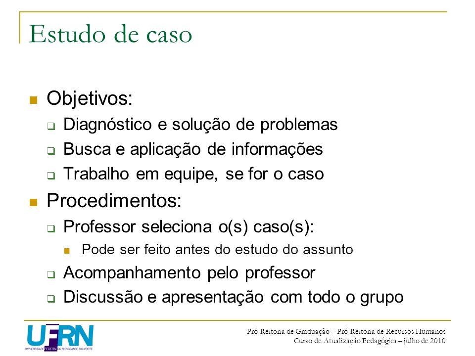 Pró-Reitoria de Graduação – Pró-Reitoria de Recursos Humanos Curso de Atualização Pedagógica – julho de 2010 Estudo de caso Objetivos: Diagnóstico e s